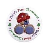 "Cute Teddy 1st Christmas 3.5"" Button"