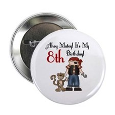 Pirate Party 8th Birthday Button