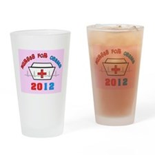 nurses for obama yard sign pink.PNG Drinking Glass