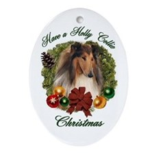 Holly Collie Christmas Oval Ornament