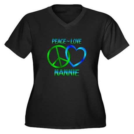 Peace Love Nannie Women's Plus Size V-Neck Dark T-