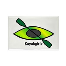 Kayakgirlz Lime Green Kayak Rectangle Magnet