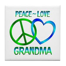 Peace Love Grandma Tile Coaster