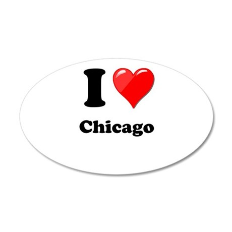 I Heart Love Chicago.png 20x12 Oval Wall Decal