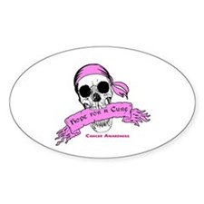 Hope For a Cure Skull Scroll Pink Decal
