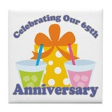 65th Anniversary Party Gift Tile Coaster