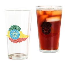 Ethiopian Flag Print Drinking Glass