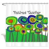 Retired Teacher Whimsical trees Blanket BLUE.PNG S