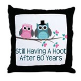 60th Anniversay Owls Throw Pillow