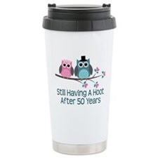 50th Anniversary Owls Ceramic Travel Mug