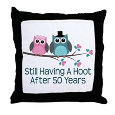 50th Anniversary Owls Throw Pillow