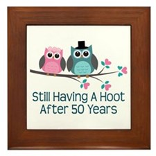 50th Anniversary Owls Framed Tile