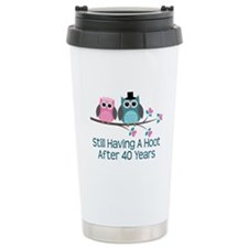 40th Anniversay Owls Ceramic Travel Mug