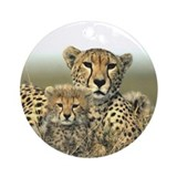 Cheetah Mom &amp; Cub Ornament (Round)