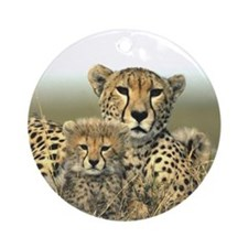 Cheetah Mom & Cub Ornament (Round)