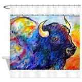 Buffalo, colorful art! Shower Curtain