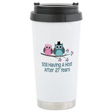 27th Anniversay Owls Ceramic Travel Mug