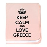 Keep calm and love greece baby blanket