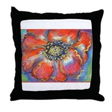 Poppy! Red Flower! Art! Throw Pillow