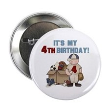 I Love Sports 4th Birthday Button