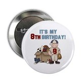 I Love Sports 8th Birthday Button