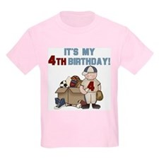 I Love Sports 4th Birthday Kids T-Shirt