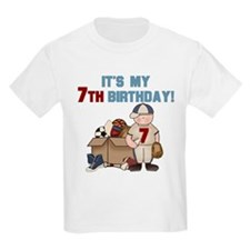 I Love Sports 7th Birthday Kids T-Shirt