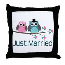 Just Married Owls Throw Pillow