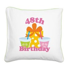 48th Birthday Celebration Square Canvas Pillow