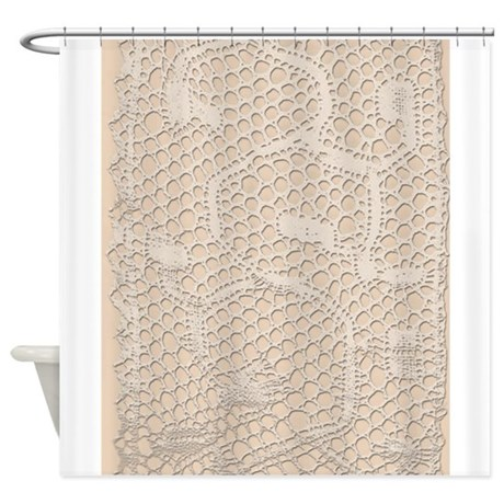 Vintage Cream Lace Shower Curtain By PrintedLittleTreasures