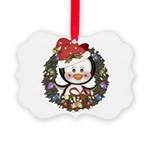Christmas Penguin Holiday Wreath Picture Ornament