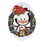 Christmas Penguin Holiday Wreath Ornament (Oval)