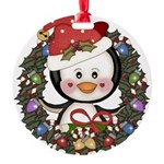 Christmas Penguin Holiday Wreath Round Ornament