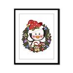 Christmas Penguin Holiday Wreath Framed Panel Prin