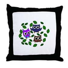 Three Happy Owls Throw Pillow