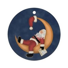 Moon Napping Santa Ornament (Round)