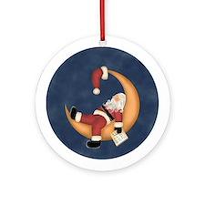Moon Napping Santa Ornament (Round)