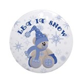 Let it Snow Teddybear Ornament (Round)