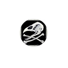 Rooster Skull and Crossbones Mini Button
