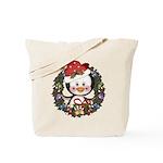 Christmas Penguin Holiday Wreath Tote Bag