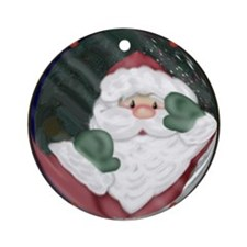 Santa Peeking In Window Ornament (Round)