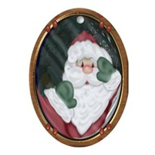 Santa Peeking in Window Oval Ornament