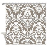 Dark Beige Damask Shower Curtain