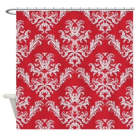Red Damask Shower Curtain By PrintedLittleTreasures