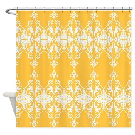 Yellow Damask Shower Curtain by PrintedLittleTreasures