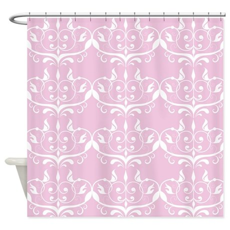 pink princess damask shower curtain by printedlittletreasures