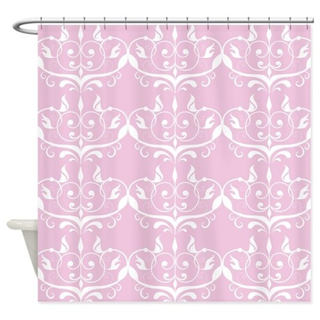pink princess damask shower curtain by printedlittletreasures