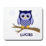 Custom name winter owl blue Mousepad
