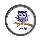 Custom name winter owl blue Wall Clock