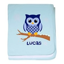 Custom name winter owl blue baby blanket